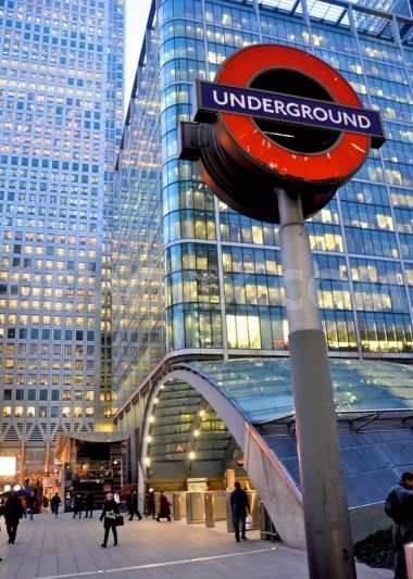 Entrance to London tube at Canary Wharf - a regenerated area of London which is home to many offices and built on London'd old docklands