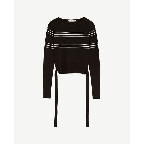 CROPPED STRIPET SWEATER - Sweaters-STRIK-DAME | ZARA Danmark ($21) ❤ liked on Polyvore featuring tops, sweaters, cropped sweater, white crop top, white top, crop top and white cropped sweater