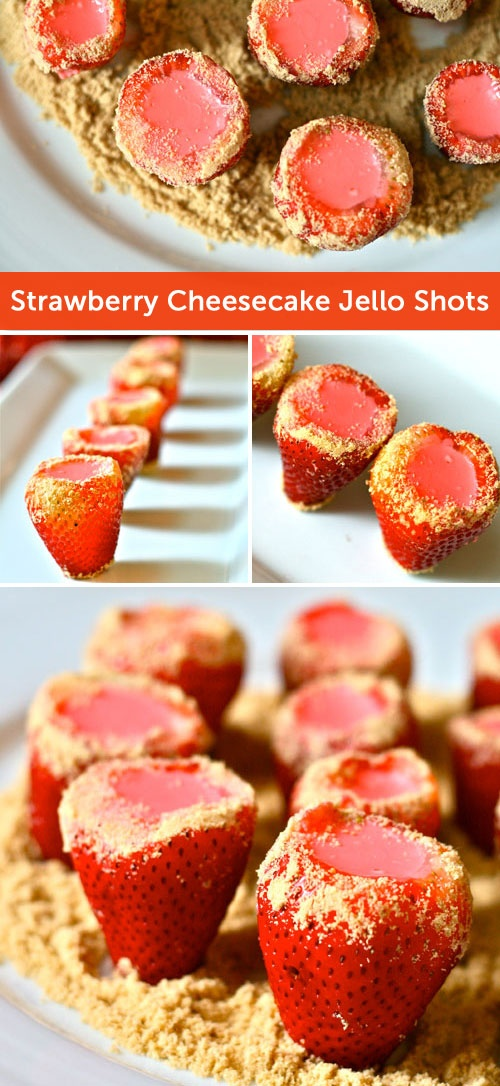 Spike Your Sweets: Strawberry Cheesecake Jello Shots. Click through for the recipe!
