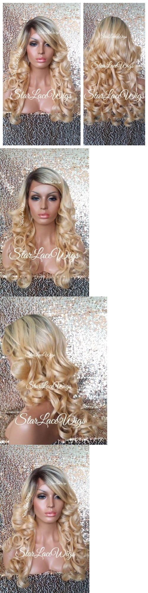 Wigs and Hairpieces: Human Hair Blend Golden Blonde Dark Root Lace Front Wig Curly Bangs Heat Safe Ok -> BUY IT NOW ONLY: $99 on eBay!
