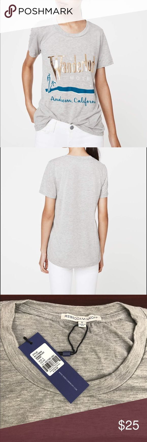 Rebecca Minkoff Wanderlust Tee DESCRIPTION #Humblebrag. Our tees are so cozy. The best part—they're put together enough that you can wear them pretty much everywhere. And this one features a Southwestern-inspired graphic for a little something extra.  Color: HEATHER GREY Size: S 65% Polyester, 35% Rayon Machine wash cold Rebecca Minkoff Tops Tees - Short Sleeve