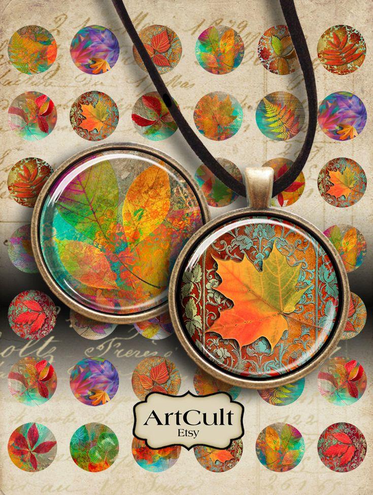 1 pouce 25mm images d'automne feuilles Collage feuille