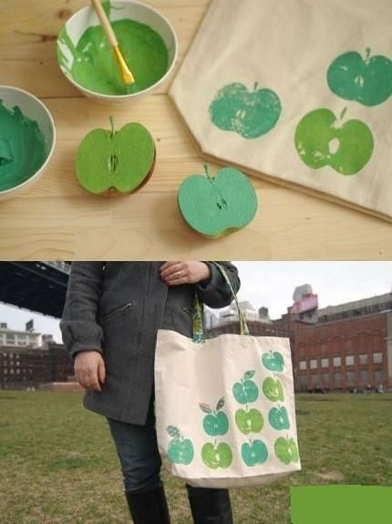 An apple-stamped tote DIY from Kayte Terry.
