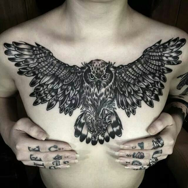 I love this owl chest piece, it would look great across the top of the back too!