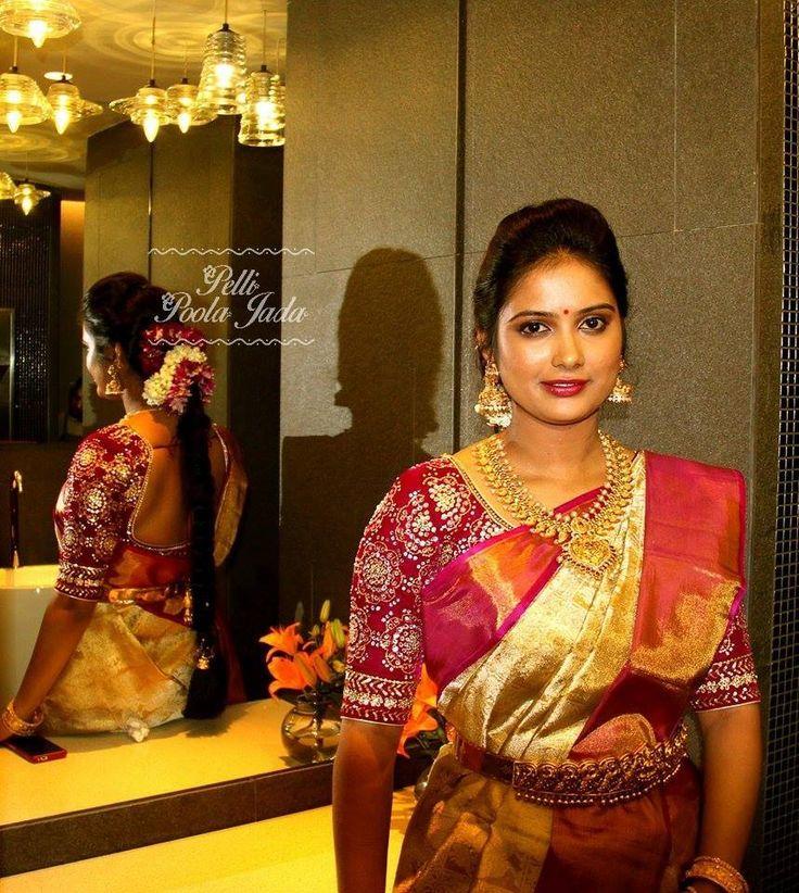 Kanjeevaram with a contrast work blouse,Telugu bride