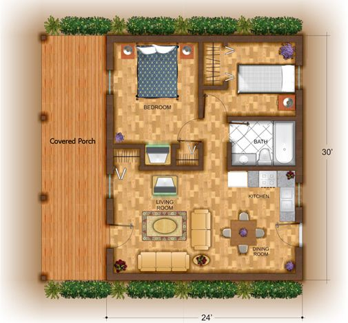 3d small house plans yukon weekend cabin series small for Small weekend cabin plans