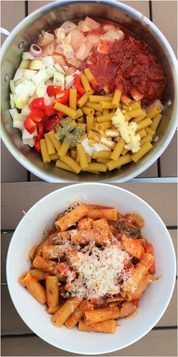 One Pot Wonder Pasta: Chicken Rigatoni. (I'll skip on the onions and mushrooms though)
