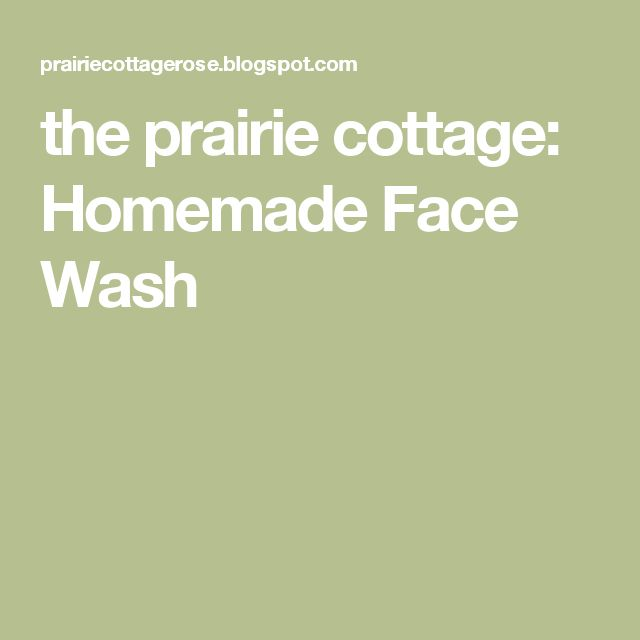 the prairie cottage: Homemade Face Wash