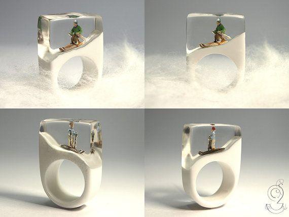 Winter resin ring  Bague résine hiver  Winter hars ring