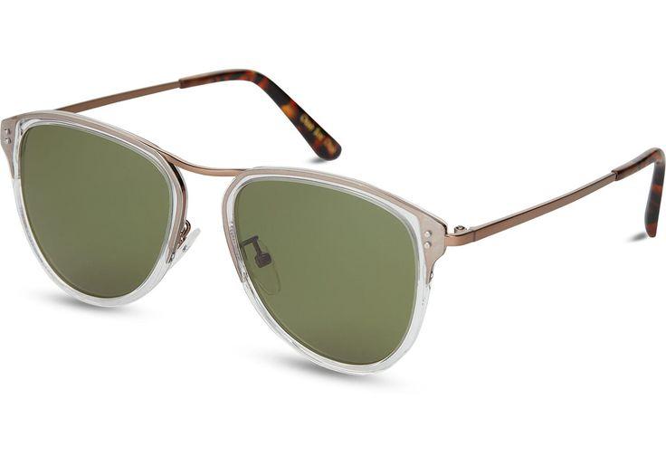 TOMS TOMS Franco Vintage Crystal Sunglasses with Glass Bottle Green Lens. #toms #