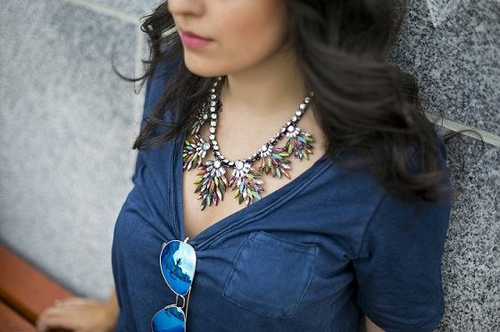 *Pop of colour - styled by Zipy* #zara #crystalnecklace #gap #rayban #aviator #zipy #zipystyle #fashionblogger #outfit