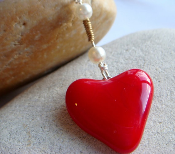 Red Heart Pendant with pearls hand made fused by GeckoGlassDesign, $29.00