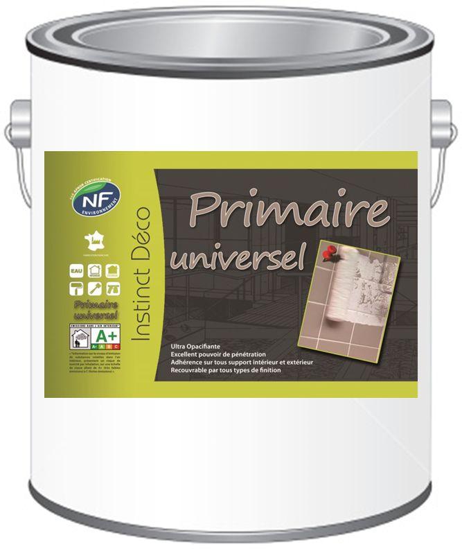PRIMAIRE UNIVERSEL PEINTURE :  SOUS COUCHE D'ACCROCHAGE PEINTURE, UNIVERSELLE  Peinture carrelage - PVC - Métaux ... Conditionnement : 1L - 3L - 12L  Caractéristiques :ID Primaire universel est un produit prêt à l'emploi, à base de résine 100 % acrylique en phase aqueuse pour accrocher, imprégner ou supprimer des taches. Excellence adhérence sur tous supports, il allie les performances des Glycéros et le confort d'application des produits à l'eau.