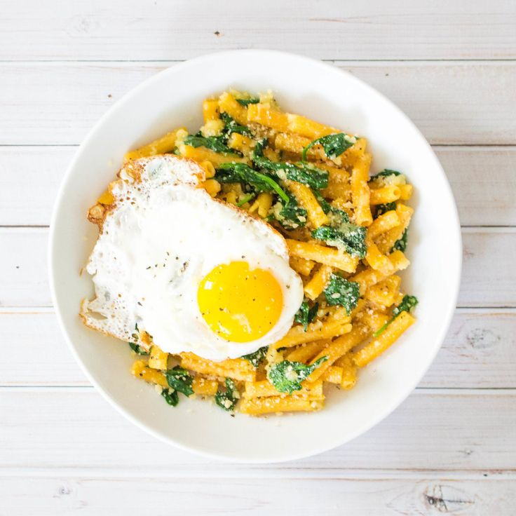 Garlic Parmesan Lentil Pasta with Spinach and Egg