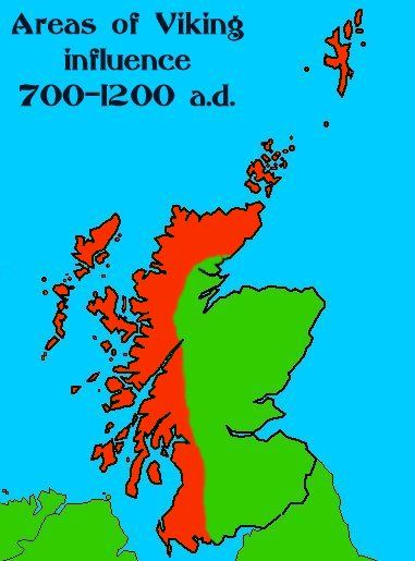 Areas in Scotland where the Norse attacked and/or had influence