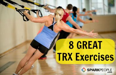 8 Amazing Exercises for the TRX Suspension Trainer | via @SparkPeople  I think TRX is my favorite STRENGTH focused group exercise class. The YMCA in Indianola has open TRX so you can grab a set and do your own thing.