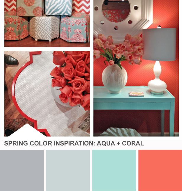 Tuesday Huesday: High Point Market Color Inspiration (http://blog.hgtv.com/design/2014/04/15/coral-aqua-spring-color-palette-idea/?soc=pinterest): Bathroom Color Scheme, Spring Color, Design Blogs, Color Palette, Bedrooms Color, Blog Designs, Bedroom Color Scheme, Color Combination
