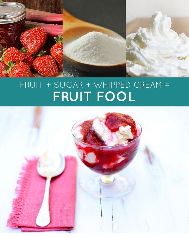 cooked fruit + sugar + whipped cream = fruit fool. This traditional British dessert works with almost any fruit. Try rhubarb and strawberries in the spring, or stone fruit in the summer. |  Three-Ingredient Recipe
