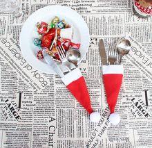 Decor Mooie Sneeuwpop Keuken Servies Houder Pocket Diner Bestek Bag Party Kerst tafel decoratie bestek sets(China (Mainland))