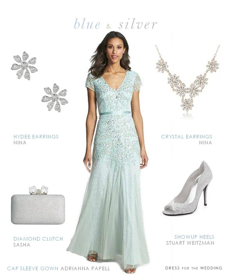 A wedding style idea for a mother of the bride with this light blue dress for the mother of the bride or groom by Adrianna Papell styled for wedding.