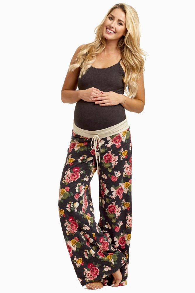 Charcoal-Floral-Drawstring-Pajama-Pants