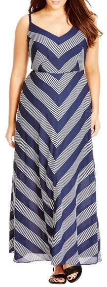 Plus Size Mitered Stripe Maxi Dress