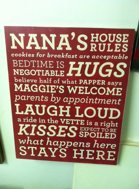 Could do 'Oma's Rules' $65 on Etsy or DIY vinyl project if I get ambitious