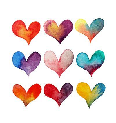 watercolor heart print