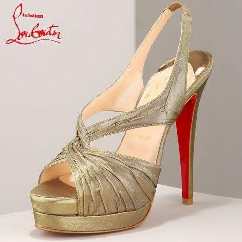 Chaussure Louboutin Pas Cher Sandale Dorée en Satin de Soie Plates-formes #redbottomshoes
