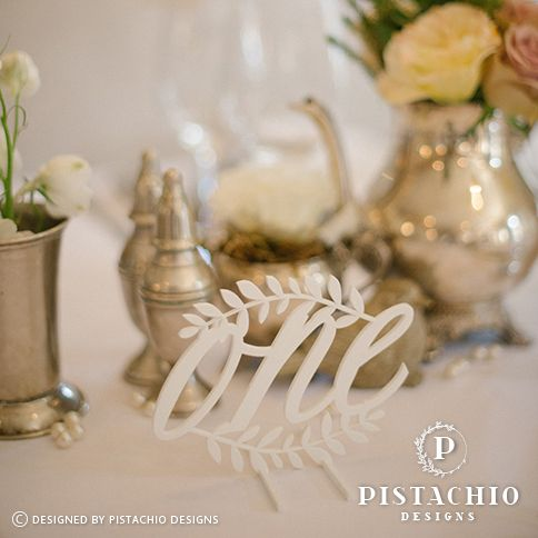 Perspex wedding table number by www.pistachiodesigns.co.za