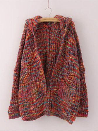 Only US$40.99 , shop Women Hooded Multicolor Batwing Sleeve Open Front Knit Cardigan at Banggood.com. Buy fashion Cardigans online.