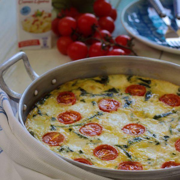 Receita sem glúten de Frittata de Espinafres com Queijo Mozzarella e Leite Evaporado