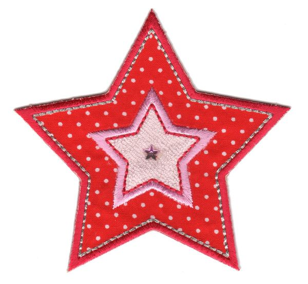 "Red & Pink Star Iron On-Applique Patch - Size: 3-1/2"" x 3-3/4"" (9 x 9-1/2 cm) - $5.49"