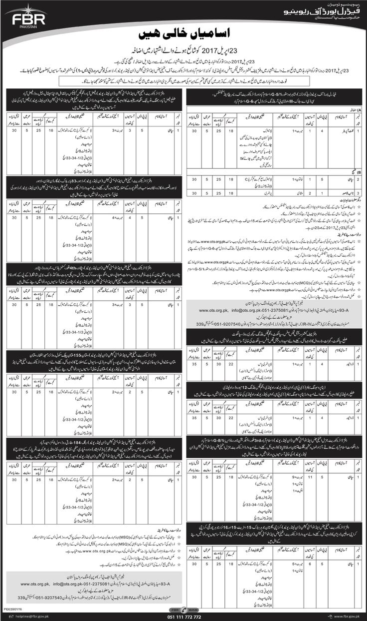 Jobs in Federal Board Of Revenue Government Of Pakistan 6 May 2017