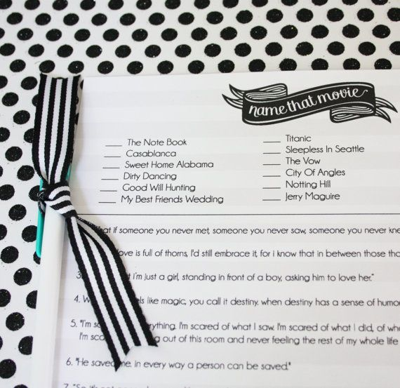 Printable Bridal Shower Game Name that Movie by printyourparty, $6.00