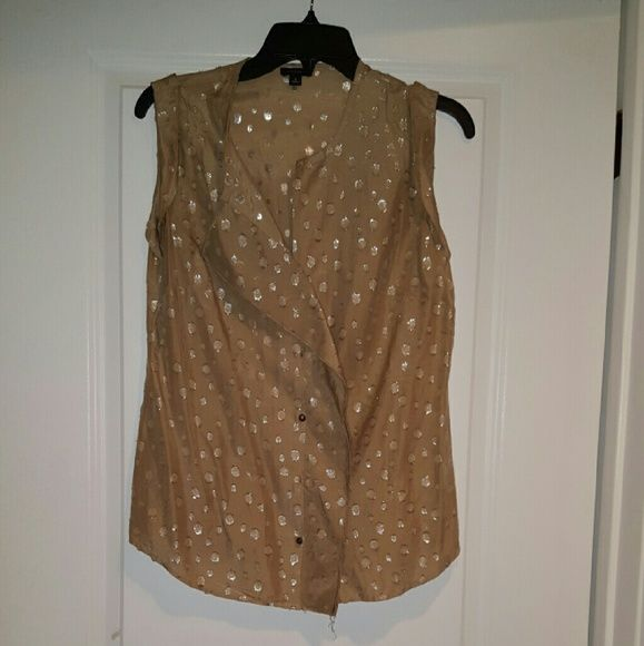 Tan and silver blouse Tan and silver button down sleeveless lightweight blouse Ann Taylor Tops Blouses