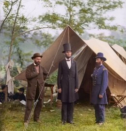 PHOTO COLORIZATION BY SANNA DULLAWAY FOR TIME; ORIGINAL IMAGE BY ALEXANDER GARDNER / LIBRARY OF CONGRESS  Allan Pinkerton, President Lincoln, and Maj. Gen. John A. McClernand at Antietam in 1862