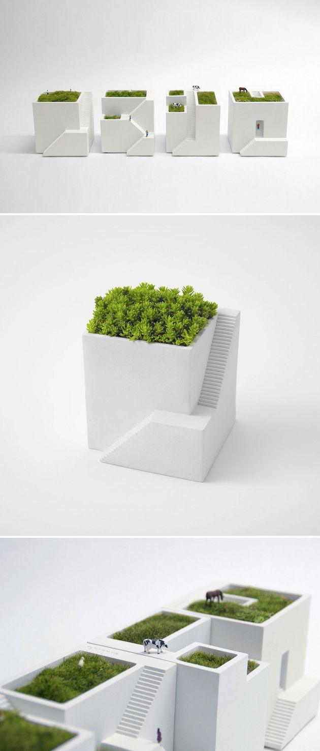 "Miniature modern home planters ""Ienami""."