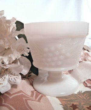 Sherbet Dish Fire King Grape Leaf Milk Glass with Pedestal, Anchor Hocking