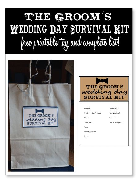 The Grooms Wedding Day Survival Kit - FREE Printable Tag and Complete List of Supplies! Prepare the groom on his big day with a kit full of wedding day necessities! #bridalshowergift #wedding #bridalshower