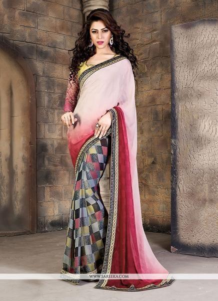 LadyIndia.com #Printed Sarees, Urban Naari Multi-Colored Georgette & Jacquard Printed saree, Printed Sarees, https://ladyindia.com/collections/ethnic-wear/products/urban-naari-white-and-maroon-colored-georgette-jacquard-printed-saree
