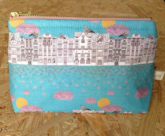 Handmade pigeons on Vrsovice cosmetic bag. Featuring Czech