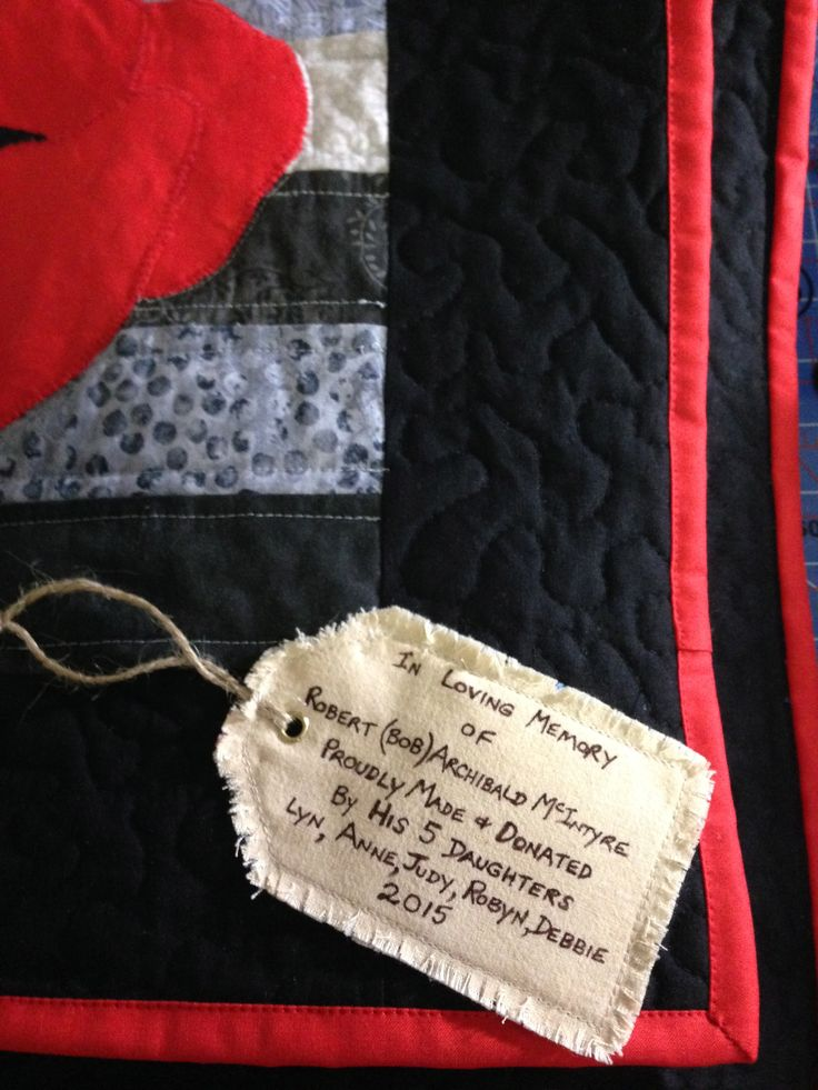 Anzac quilt tag
