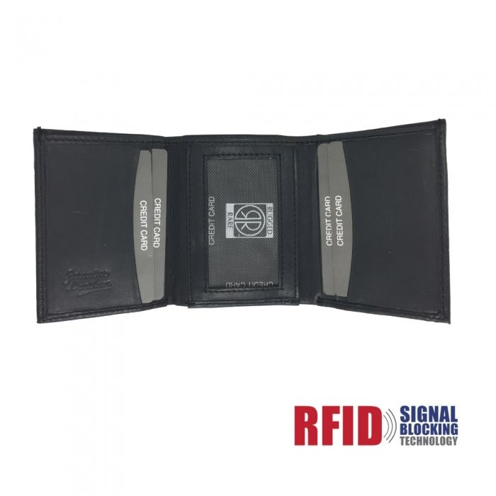 "Leather Wallet Trifold, Double ID Window with RFID Protection - This cowhide leather wallet is 100% Genuine leather, and is built to help safeguard your identity and credit card information with the protection from RFID (Radio Frequency Identification) scanners. Without RFID protection in the wallet, someone with an RFID scanner could simply walk up and obtain your credit card information without you even noticing and while your credit card is still stored away ""safely"" in your wal..."