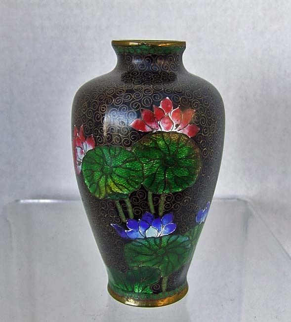 Antique 19th century Japanese Meiji  Cloisonne Vase Gin-Bari lotus Flowers