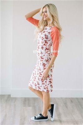 White Coral Floral Baseball Sleeve Modest Dress, Vintage Dress, Church Dresses, dresses for church, modest bridesmaids dresses, trendy modest, modest office clothing, affordable boutique dresses, cute modest dresses, mikarose, trendy boutique