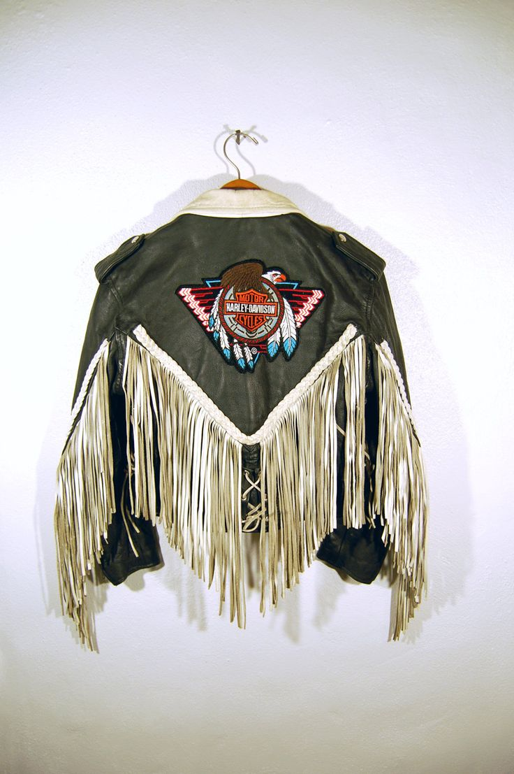 Vintage 70s Women's Fringe Leather Harley Davidson Logo Motorcycle Jacket. $300.00, via Etsy.