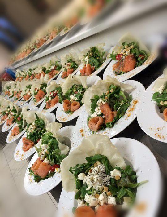 Seafood salad. Santorini Weddings, Wedding venue, Wedding ceremony and reception, Sunset view, wedding menu.