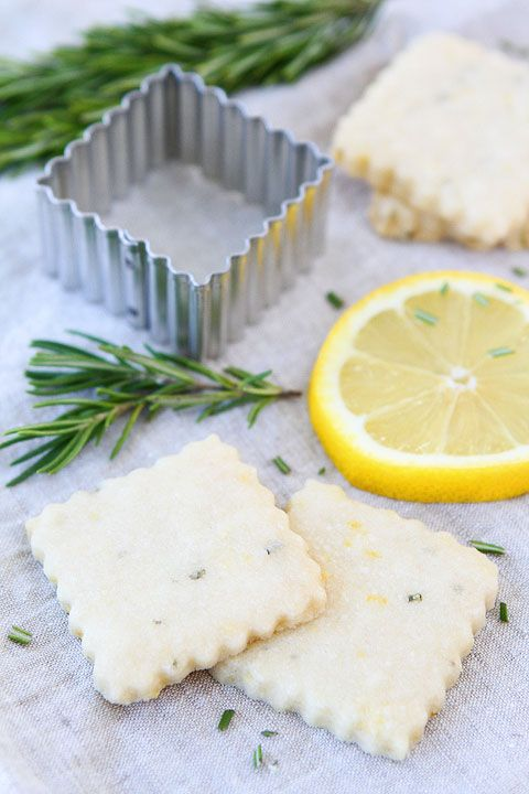 Lemon Rosemary Shortbread Recipe on twopeasandtheirpod.com Love these buttery little cookies!