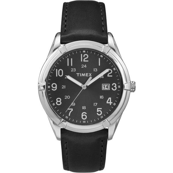 Timex Men's TW2P767009J Easton Avenue Black Leather Strap Watch (155 PLN) ❤ liked on Polyvore featuring men's fashion, men's jewelry, men's watches, men, black, mens watches, mens leather watches, mens leather strap watches, men's blue dial watches and mens watches jewelry
